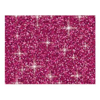Pink iridescent glitter postcard