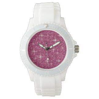 Pink iridescent glitter watch