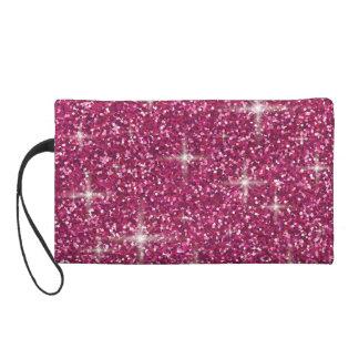 Pink iridescent glitter wristlet clutch