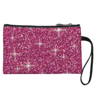 Pink iridescent glitter wristlet purses