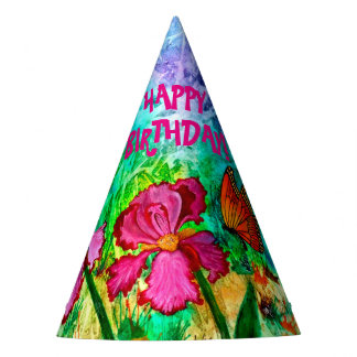 Pink Iris Party Hat
