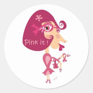 Pink it Pink Ribbon Classic Round Sticker