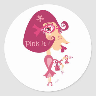 Pink it Pink Ribbon Round Sticker
