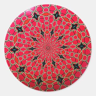 Pink Italian Mosaic Mandala Disk Round Sticker