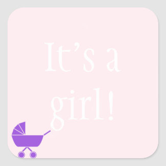 Pink It's a Girl Baby Shower Stickers