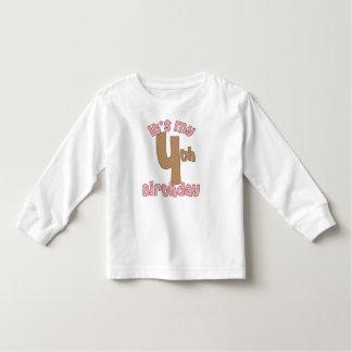 Pink It's My Fourth Birthday Toddler T-shirt