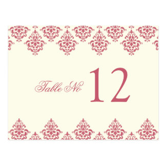 Pink Ivory Arabesque Damask Table Number Card