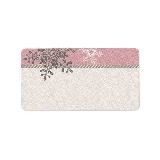 Pink Ivory Snowflake Wedding Blank Address Labels