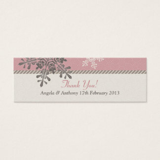 Pink Ivory Snowflake Winter Wedding Favor Tags