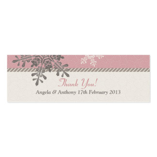 Pink Ivory Snowflake Winter Wedding Favor Tags Pack Of Skinny Business Cards