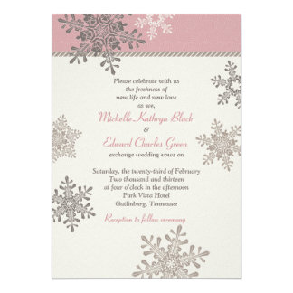 Pink Ivory Snowflake Winter Wedding Invitation