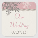 Pink Ivory Snowflake Winter Wedding Stickers
