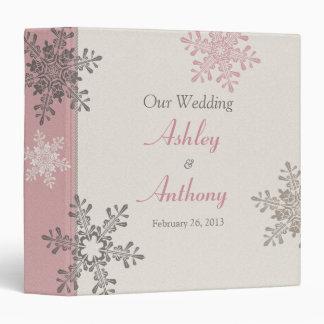 Pink Ivory Taupe Snowflake Winter Wedding Binder