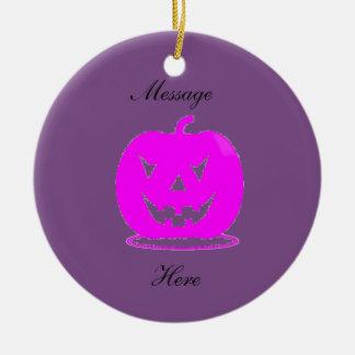 Pink Jack o'lantern Halloween Thunder_Cove Ceramic Ornament