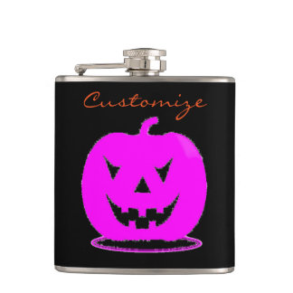 Pink Jack o'lantern Halloween Thunder_Cove Hip Flask