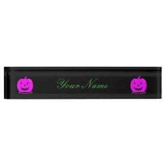 Pink Jack o'lantern Halloween Thunder_Cove Name Plate