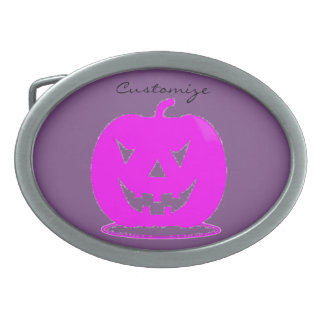 Pink Jack o'lantern Halloween Thunder_Cove Oval Belt Buckle