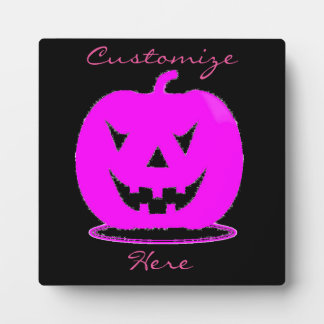 Pink Jack o'lantern Halloween Thunder_Cove Plaque