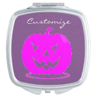 Pink Jack o'lantern Halloween Thunder_Cove Travel Mirrors