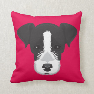 Pink Jack Russell Terrier Throw Pillow