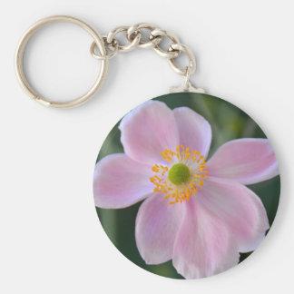 Pink japanese anemone flower keychain