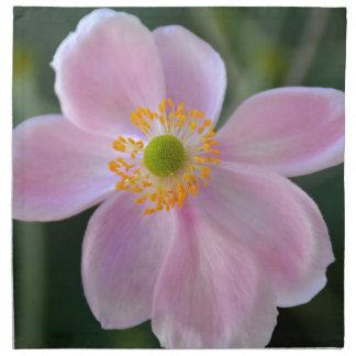 Pink japanese anemone flower napkin