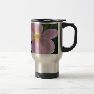 Pink japanese anemone flower travel mug