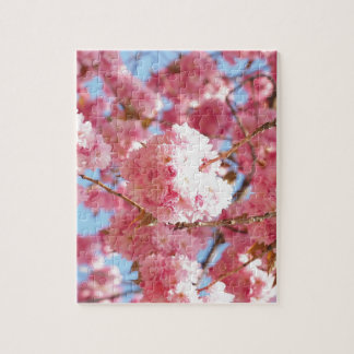 Pink Japanese Cherry Blossom Jigsaw Puzzle