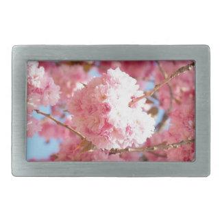 Pink Japanese Cherry Blossom Rectangular Belt Buckles