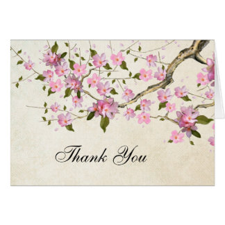 Pink Japanese Cherry Blossom Thank You Card