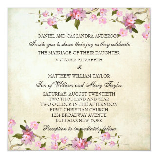 "Pink Japanese Cherry Blossoms Wedding 5.25"" Square Invitation Card"