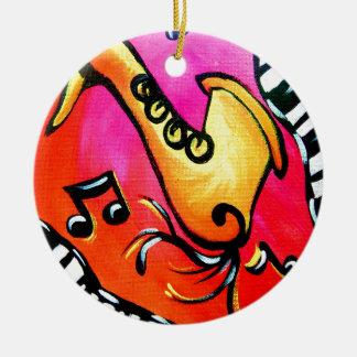 Pink Jazz Music Round Ceramic Ornament