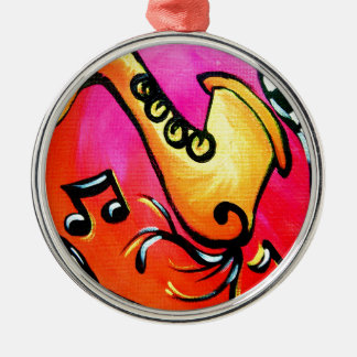 Pink Jazz Music Silver-Colored Round Ornament
