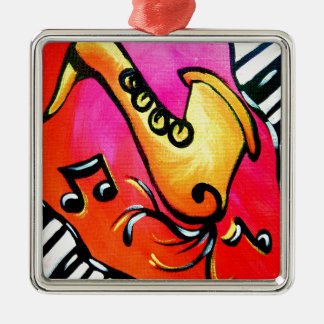 Pink Jazz Music Silver-Colored Square Ornament