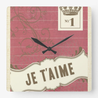 Pink Je t'aime (French I Love You) Wall Clocks