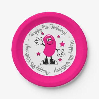 Pink Jelly Bean Birthday Party Paper Plate