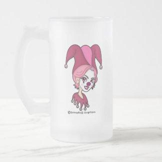 Pink Jester Frosted Beer Mug