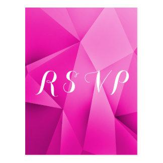 Pink Jewel Tones Wedding RSVP Postcard