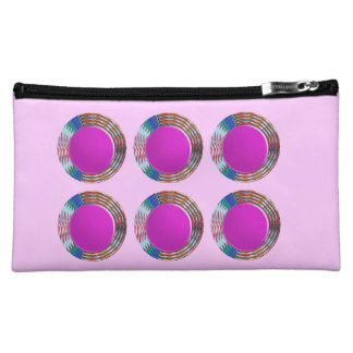 Pink Jewels DOTS Circles Round Disc Disk Golden Cosmetic Bag