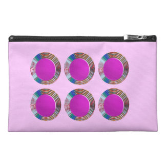 Pink Jewels DOTS Circles Round Disc Disk Golden Travel Accessories Bags