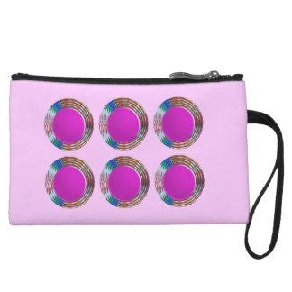 Pink Jewels DOTS Circles Round Disc Disk Golden Wristlet Clutch