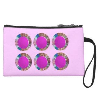 Pink Jewels DOTS Circles Round Disc Disk Golden Wristlet Purse