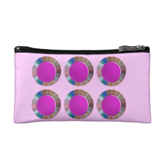 Pink Jewels DOTS Circles Round Disc Disk Golden Cosmetics Bags