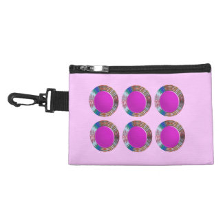 Pink Jewels DOTS Circles Round Disc Disk Golden Accessory Bags