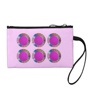 Pink Jewels DOTS Circles Round Disc Disk Golden Coin Wallets