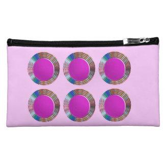 Pink Jewels DOTS Circles Round Disc Disk Golden Makeup Bags