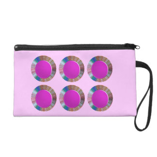 Pink Jewels DOTS Circles Round Disc Disk Golden Wristlet Purses