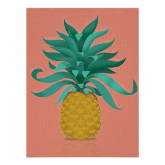 pink Juicy pineapple wall art print