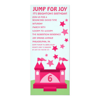Pink Jump for Joy Bounce House Birthday Invitation