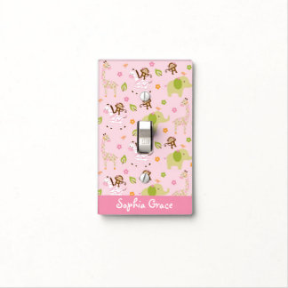 Pink Jungle Animal Light Switch Cover